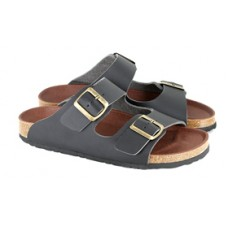 Vegetarian Shoes Black Two-Strap Sandal (men's & women's)
