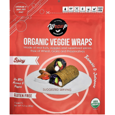 WrawP Organic Veggie Wraps - Spicy Turmeric & Jalapeno (3 wraps) - TEMPORARILY OUT OF STOCK