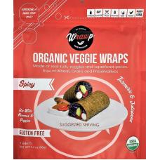 WrawP Organic Veggie Wraps - Spicy Turmeric & Jalapeno (3 wraps)