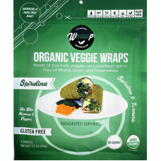 WrawP Organic Veggie Wraps - Spirulina & Turmeric (3 wraps) - TEMPORARILY OUT OF STOCK